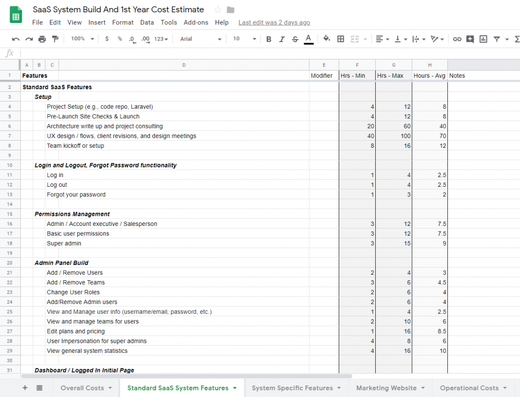 SaaS System Build and Cost Estimate spreadsheet template