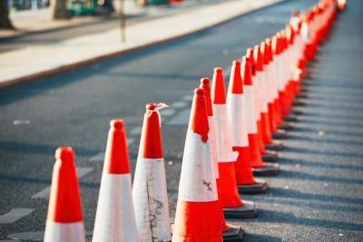 line of traffic cones